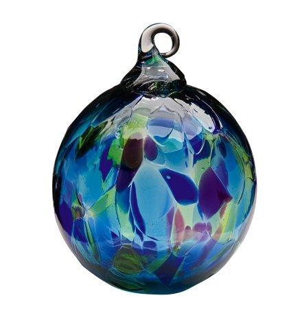 (Glass Blue Mosaic Globe Ornament)