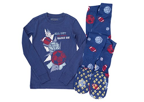 Big Feet PJs 2 Piece Footed Pajamas with Sports Balls on Navy, All Out - Game On