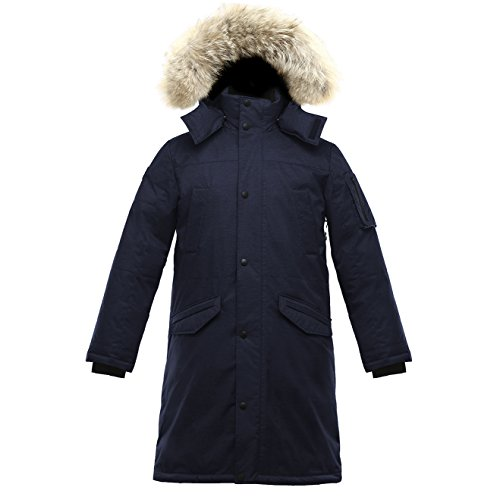 Triple F.A.T. Goose SAGA Collection | Eberly II Mens Hooded Goose Down Jacket Parka with Real Coyote Fur (Medium, Navy) - Coyote Fur Parka