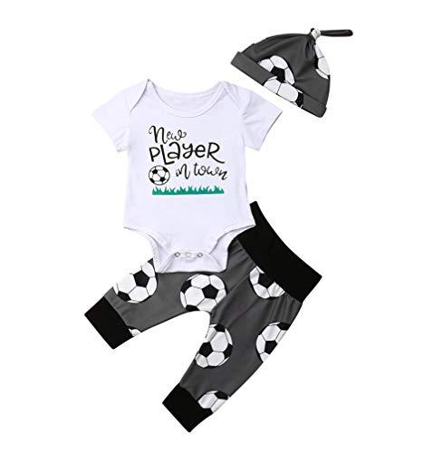 Newborn Infant Baby Boy Soccer Rompers+Pants+Hats 3Pcs Bodysuit Clothes Set Grey