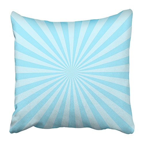 Emvency Decorative Throw Pillow Covers Cases Burst Sun Ray Blue Two Tone Colors Abstract Sunburst Beam Bright Energy Flare Graphic Light 16X16 Inches Pillowcases Case Cover Cushion Two Sided