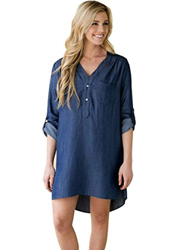 ion Roll Sleeve Button Closure Side Split Jeans Dress (ASIA XL = US 10) (Chambray Womens Dress)
