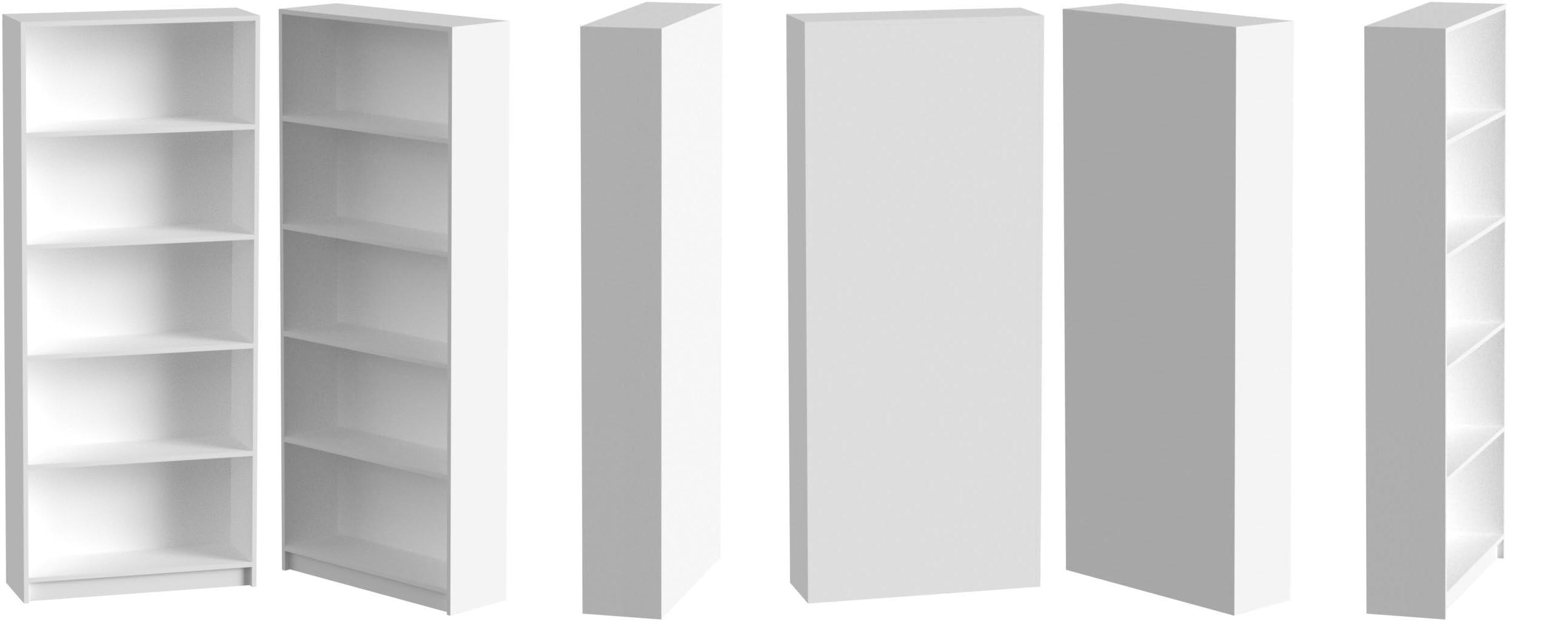 Estantería Alta 5 Estantes, Color Blanco, Medidas: 180 x 75 x 25 cm
