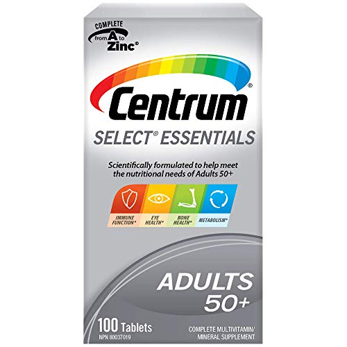 Centrum Select Essentials, Complete Multivitamin & Mineral Supplement, Adults 50+, 100 Tablets