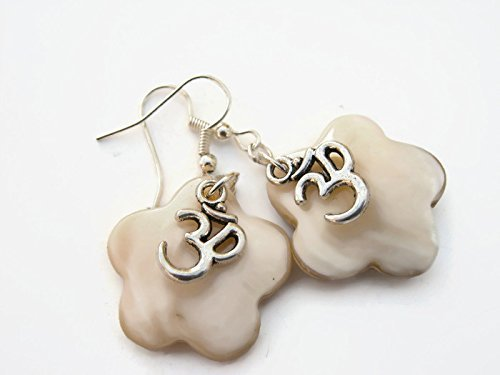Mother Of Pearl Om Earrings, Iridescent White Flower Earrings, Hawaii Beach Jewelry, Nature Earrings, Antiqued (Antiqued Mens Wedding Ring)