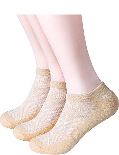 HASLRA Full Light Cushion Mesh Top Low Cut Socks 3 Pairs (BEIGE)