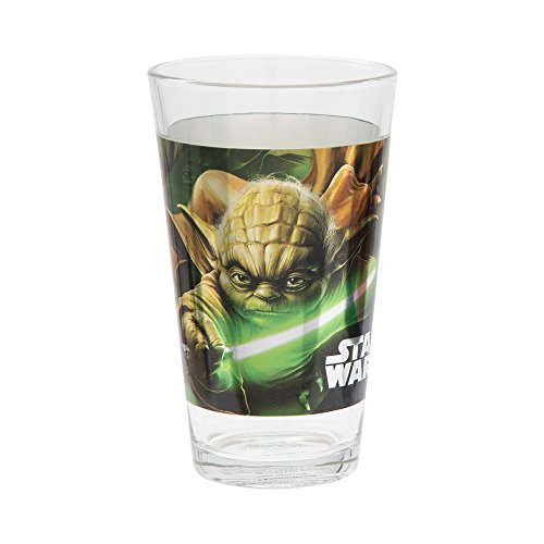 Vandor Star Wars Darth Vader and Yoda 2-Piece 16-Ounce Laser Decal Glass Set - With Yoda Glasses