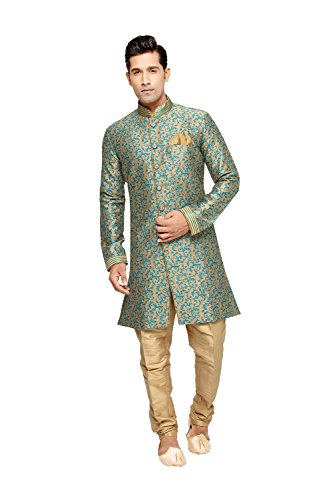 Fashions Trendz Indian Kurta Pajama Set For Men Wedding Festival Partywear In Beige Jaqard Art Silk by Fashions Trendz
