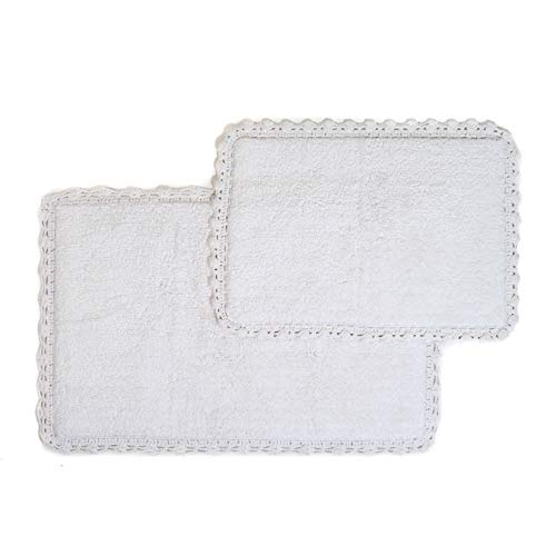 Crochet 2-Piece Bath Rug Set, 21 by 34-Inch and 17 by 24-Inch, White