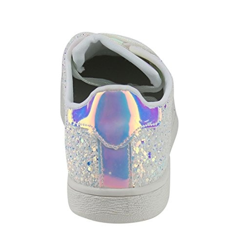 Per Sempre Collegano Le Donne Moda Leggero Scintillio Similpelle Metallizzata Trapuntato Allacciata Scarpa Stringata Bassa Top Sneaker Elegante (6.5, Glitter Bianco-1)