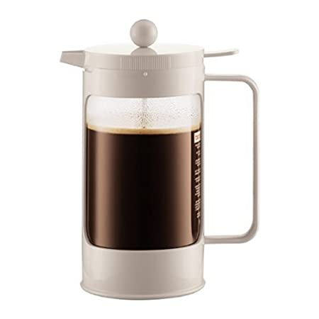 Bodum Bean French Press Coffeemaker with Locking Lever Lid, 8-Cup (34-Ounce), White 10945-913