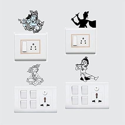 Buy Stickersyard God Krishna Wall Decal Switchboard Sticker Color