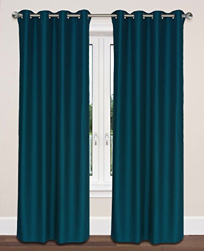 LJ Home Fashions Twilight Room Darkening 100% Privacy Faux Silk Grommet Curtain Panels (Set of 2) 54''W x 95''L, Blue by LJ Home Fashions