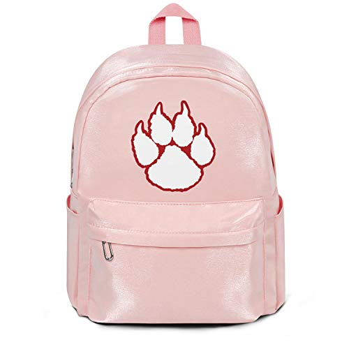 Heart Wolf Womens Girl Boys Bag Purse Wildcat Paw Fashion Nylon Lightweight 13 Inch Laptop Compartment Backpack Bag Purse Pink ()