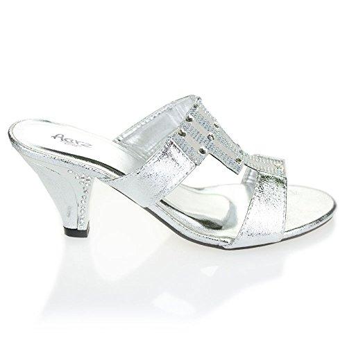 Aarz mujeres de las señoras de la tarde Comfort slip-on Diamante sandalias de tacón de bloque banquete de boda del tamaño de los zapatos (Oro, Plata, Negro, Marrón) Plata