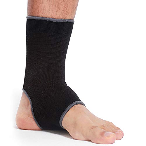 Neotech Care Ankle Support Sleeve (1 Unit) - Open Heel, Light, Elastic & Breathable Knitted Fabric - Medium Compression - for Men, Women, Kids - Right or Left Foot - Black Color (Size M)