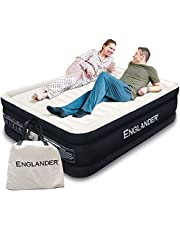 Englander First Ever Microfiber Air Mattress, Luxury Microfiber airbed with Built in Pump, Highest End Blow Up Bed, Inflatable Air Mattresses for Guests Home Travel 5-Year Warranty