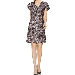 Women's Short Sleeve Multi-Sequin V-Neck Dress