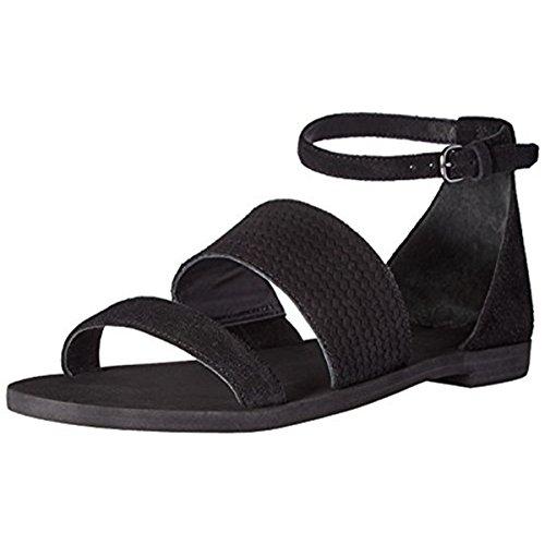 (Via Spiga Women's Parker Flat Sandal, Black Suede, 8 M)