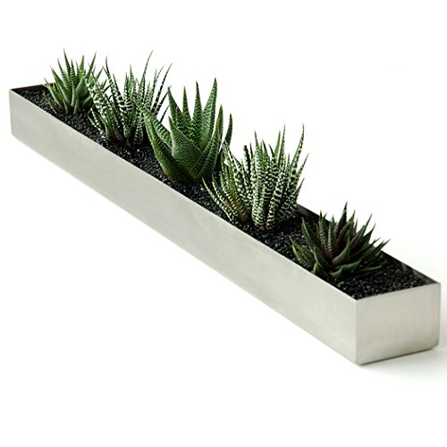 Planter Box Rectangular Shape Brushed Stainless Steel in Silver Finish