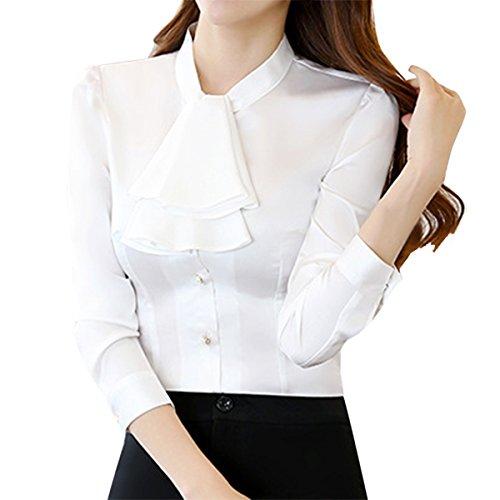E.JAN1ST Women's Long Sleeve Shirt Tie Bow Neck Button End Slim Fit Chiffon Blouse, White, -