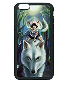 San Wolf Canvas Princess Mononoke ~ iPhone 6 Plus Hard Case ~ Silicone Patterned Protective Skin Hard Case Cover for Apple iPhone 6 Plus with 5.5 inch - Haxlly Designs- Black Case