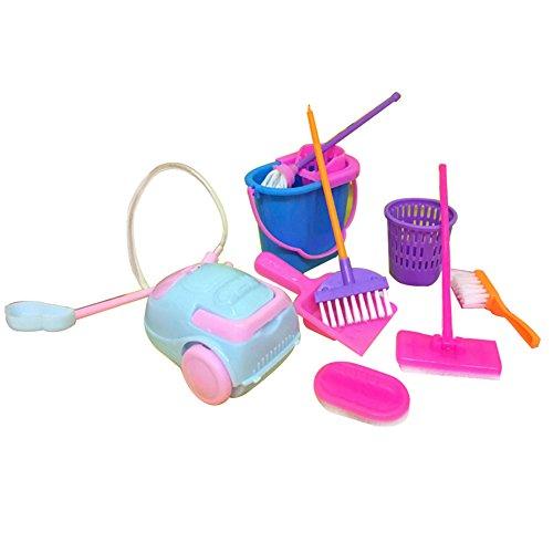 - Aland 9Pcs Cleaning Tool Broom Toy Pretend Play Furniture Mini Housekeeping Brush Random Color
