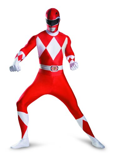 Disguise Sabans Mighty Morphin Power Rangers Red Ranger Bodysuit Adult Costume, Red/White, Medium/38-40