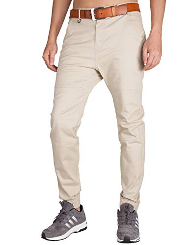 ITALY MORN Mens Chino Jogger Casual Pants Jogging Khakis Slim Fit Elastic Cuff (32, Cream Khaki) ()
