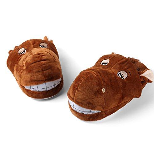 Slip Warm Design On Slippers Comfy amp; Bear Horse Plush for Sleepy Women's UwqPRSEP