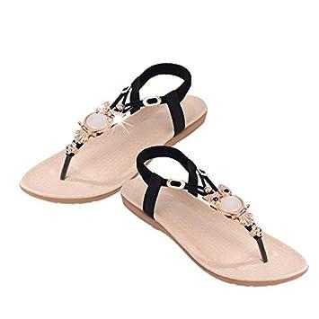 SHE.White Sandalen Damen Flach Hausschuhe Sommer Strass