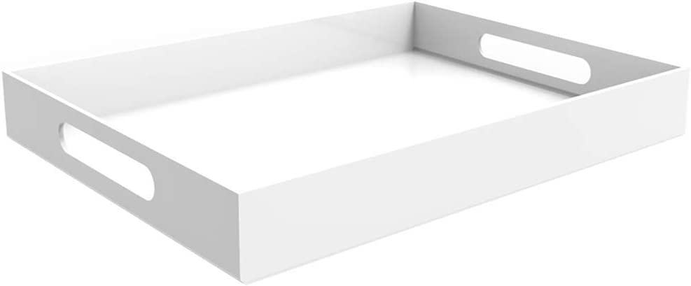"""Vale Arbor White Acrylic Tray - 16"""" x 12"""" Acrylic Tray for Coffee Table, Breakfast, Tea, Food, Butler - Decorative Display, Countertop, Kitchen, Vanity Serve Tray with Handles"""