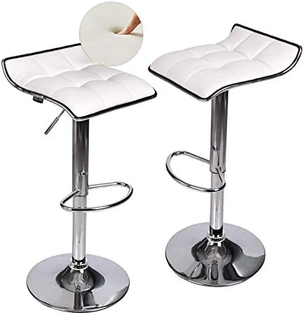 Fullwatt Set of 2 Adjustable Swivel Bar Stool White – Gas Lift Swivel Bar Stools Chairs PU Leather with Chrome Base Counter Height Adjustable Pub Kitchen Counter Stool Chairs for Bar