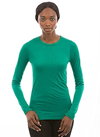 2d6fe299a25ea P3 BAMBOO Women s 100% Bamboo Long Sleeve Crew Neck Shirt XXL Emerald Green