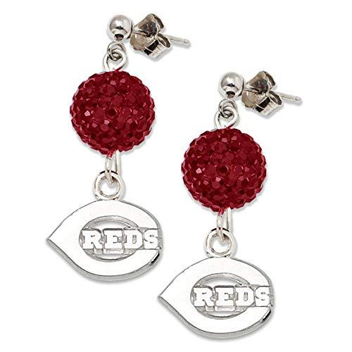 (MLB Cincinnati Reds S/S CINCINNATI REDS CRYSTAL OVATION EARRINGS Size One Size)