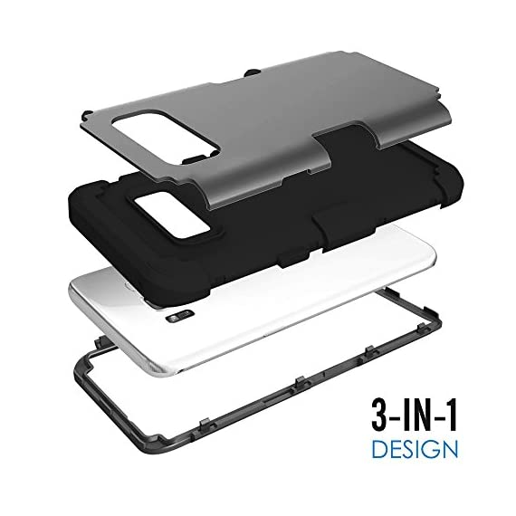 Galaxy S8 Plus Case, KAMII 3in1 [Shockproof] Drop-Protection Hard PC Soft Silicone Combo Hybrid Impact Defender Heavy Duty Full-Body Protective Case Cover for Samsung Galaxy S8 Plus 7 Specifically designed for Samsung Galaxy S8 Plus (6.2inch). [Case ONLY, Screen protector doesn't includes]. Available in multiple color bumper finish styles to show off your unique style and passion for trend. 3 in 1 hybrid high impact combo with hard PC outer shell and soft inner silicone. Full-Body Protective Cover and fit your phone perfectly and keep high touch sensitivity.