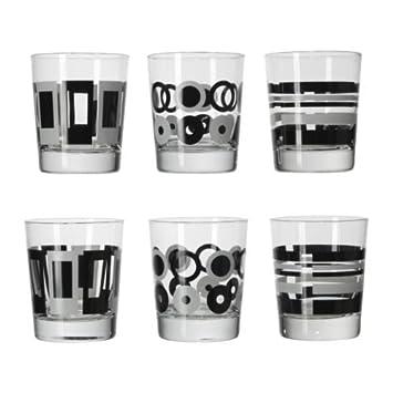 IKEA GODIS MIX -Glas gemustert schwarz weiß / 6-Pack - 20 cl ...