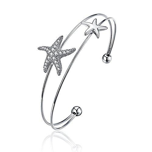 Starfish Bracelet (TEMICO Micro Cubic Zirconia Crystal Starfish Open Cuff Bracelet Bangle For Women, Silver / Rose Gold Tone)