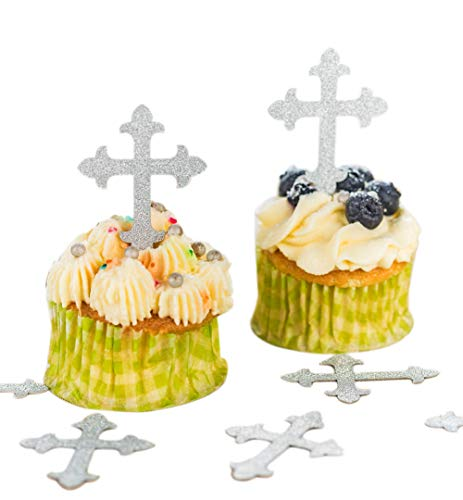 Baptism Cross Cupcake Toppers silver 50pcs, Cupcake Desserts Pastries Decoration, Cross Party Supplies for Baptism, Christening, religious event, First Communion or confirmation, wedding, baby shower -