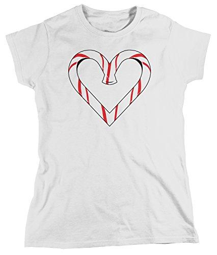 Amdesco Women's Candy Cane Heart, Christmas T-Shirt, White Medium