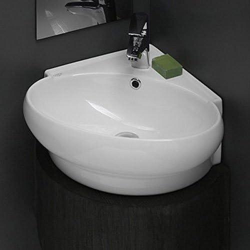 Cerastyle 002000 U One Hole Mini Round Corner Ceramic Wall Mounted Vessel Sink White Amazon Com