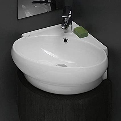 Genial CeraStyle 002000 U One Hole Mini Round Corner Ceramic Wall Mounted/Vessel  Sink
