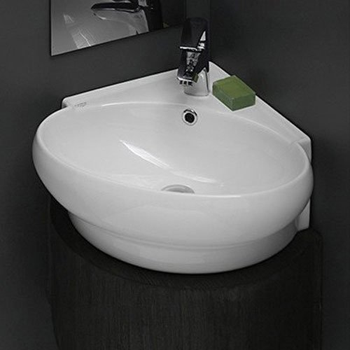 CeraStyle 002000-U-One Hole Mini Round Corner Ceramic Wall Mounted/Vessel Sink, White (One Hole Corner)