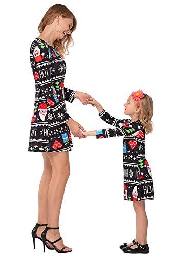 Traje rbol para la Casual animados noche Madre Dibujos hija Madre juego Ropa Vestido Impreso e Manga Nieve a familiar larga Padre B Navidad vwxqCaT