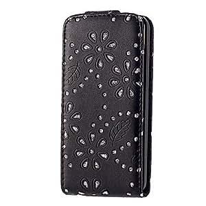 Diamond Look Maple Leaf Designed PU Leather Flip Case for iPhone 5C (Assorted Colors) , Rose