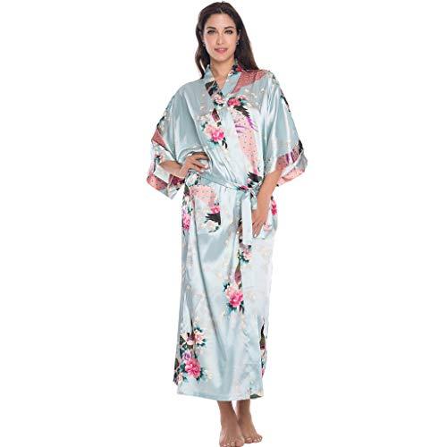 (TIFENNY New Night Gown for Women Plus Size Soft Simulation Silk Print Gown Bath Robe Lingerie Sleepwear Pajamas Dresses Light Blue)