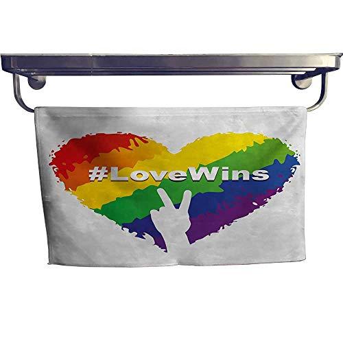 Valentine Handkerchief - Pride Sports Towel Set Artful Illustration of Colorful Heart in LGBT Colors Love Wins Hashtag Valentines Handkerchief Set W 20
