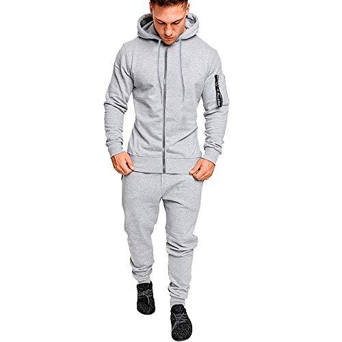 WOCACHI Men Hoodie Zipper Top Pants 2 Piece Sets Hooded Pullover Sweatshirt Suit Clearance Sale Promotion Deal Autumn Winter Warm Tops Blouses Shirts