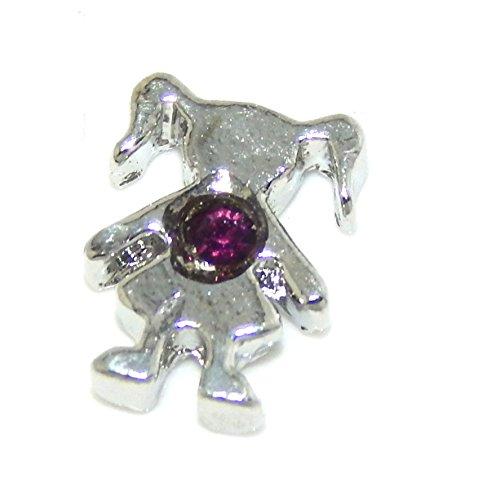 "Jewelry Monster ""Girl w/ Birthstone Crystal"" for Floating Charm Lockets LF0175 (February Amethyst Purple)"