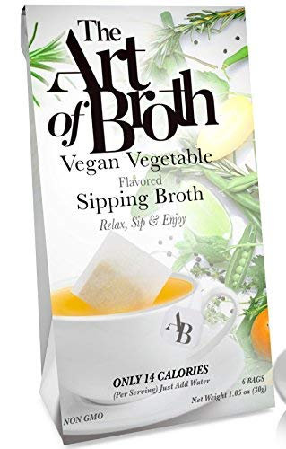 Broth Flavored - The Art of Broth Vegetable Broth, Vegan Vegetable Flavored Sipping Broth Bag, Non-GMO, Gluten-Free, Kosher (Pack of 6)